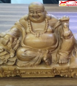Tượng gỗ taplo Phật Di Lặc gỗ Huyết Long